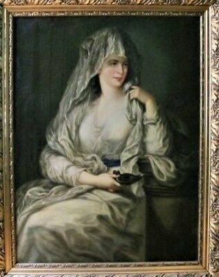 """Fine 44"""" Mid-19th C. GERMAN ORIENTALIST Painting of Young Woman  RETTIG  c. 1870"""