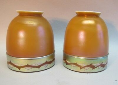 Rare Pair of Signed STEUBEN INTARSIA Art Glass Shades  c. 1915  antique vase