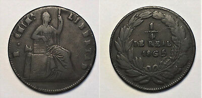 Mexico Chihuahua - State Copper - 1865 1/4 Real - Better Date!