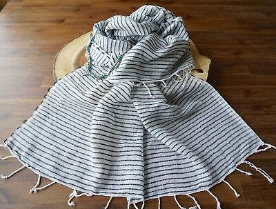 COTTON SHAWL STRIPED Hand Loomed Woven 'Indian Wine' NOVICA