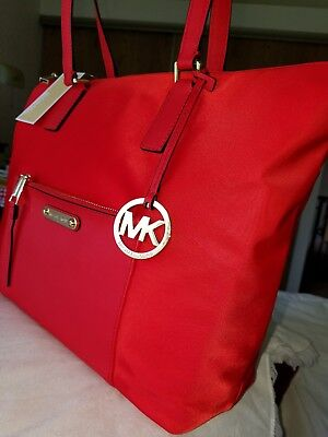 3ae2595cc608 MICHAEL KORS LG Ariana Tote Red AUNTHENTIC GORGEOUS NWT - $138.00 ...