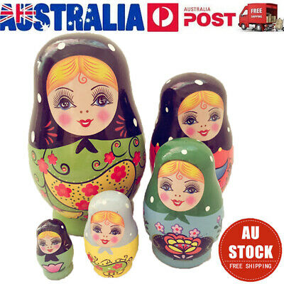 5Pcs/set Wooden Dolls Russian Nesting Green Girl Matryoshka Hand Painted Toys