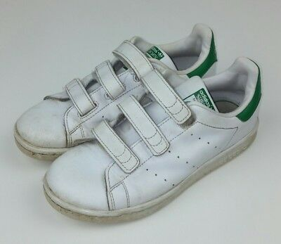 new arrival a28d3 c8da3 Adidas Stan Smith Kids Size 2 Sneakers Shoes White Green Hook Loop Used  Athletic