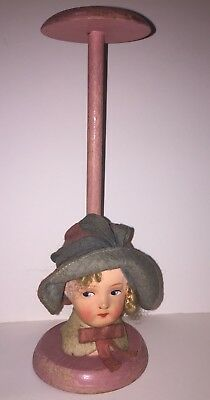 "Vintage Flapper Girl 1920""s Hat Display Millinery Stand"