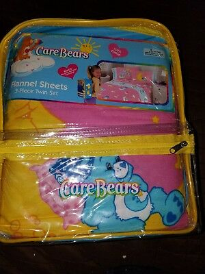 Care Bears 3pc flannel sheet set, with bonus backpack.  NEW IN PACKAGE