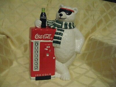 1998 Coca-Cola Brand Polar Bear Cookie Jar  With Coke Machine  NEW in Box