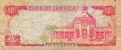 Jamaica  50 Cents  ND. 1967   P 53a  Series T  Circulated Banknote S518F