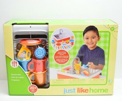 New Just Like Home Kitchen Sink Set W Pump Operated Real Running Water
