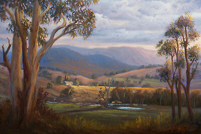 Original landscape oil painting last light Alpine road by Chris Vidal