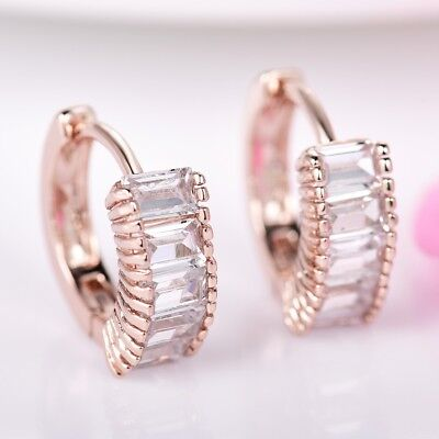 New Retro Women Princess Cut Rhinestone Crystal Rose Gold Filled Hoop Earrings