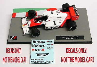 DECALS Alain Prost 1985 McLaren MP 4/2B Marlboro 1:43 Formula 1 Car Collection