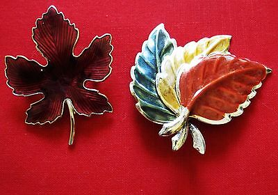 Vintage LEAF PINS or BROOCHES - enamel on metal