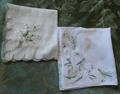 LOT of 2 Vintage Embroidered LILY OF THE VALLEY FLOWERS Handkerchief Hankie