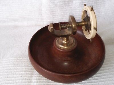 Vintage Brass Maritime/Nautical Ships Wheel Nutcraker with Turned Wood Bowl