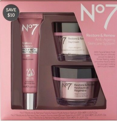 No7 Restore & Renew Anti Ageing Skincare System New in Box