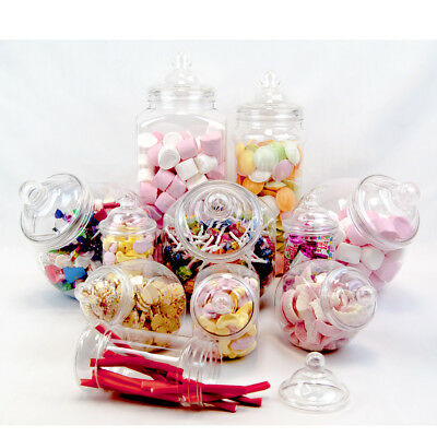 11 Retro Vintage Plastic Jars Candy Buffet Sweet Shop Wedding Kids Party Kit