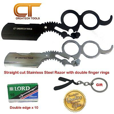 Stainless Steel Barber Straight Edge Cut Throat Shaving Razor Double Finger Ring