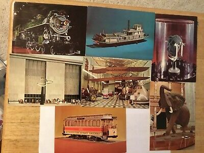 Lot Of 7 Smithsonian Vintage Post Cards Wright bros moon rock trains Boats
