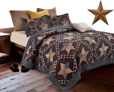 Black Brown Western Americana Primitive Country Farmhouse Cabin FQK Quilt +STAR