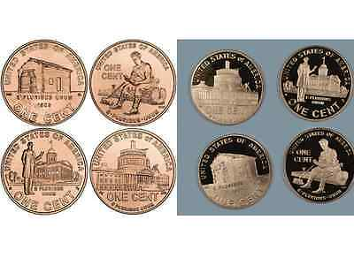 Complete Set Lincoln Bicentennial 2009  Cent Penny P & D & PROOF 12 UNC. Coins