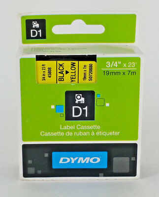 "Genuine DYMO D1 3/4"" x 23' Black on YELLOW 45808 Permanent Label Tape NEW OEM"
