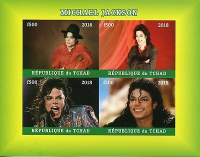 Chad 2018 MNH Michael Jackson 4v IMPF M/S Popstars Celebrities Music Stamps