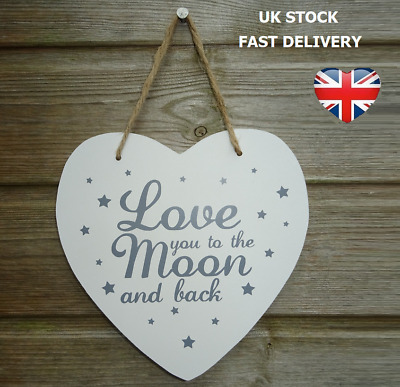 LOVE YOU TO THE MOON AND BACK WOODEN PLAQUE Heart Shaped Home Decor Shabby Chic