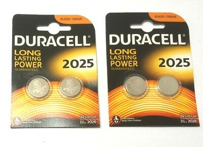 2 x CR2025 DURACELL GENUINE 3v LITHIUM BUTTON COIN CELL BATTERIES Expiry 2026