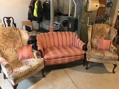 Antique settee, Pink floral fabric, with two armchairs