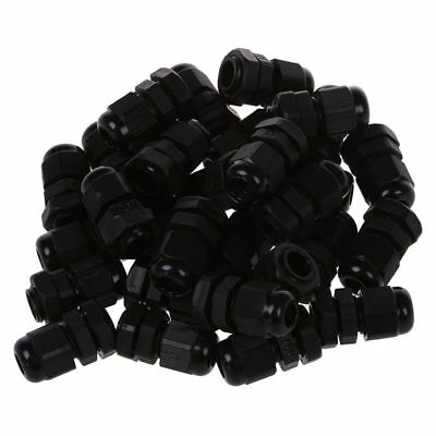 30 Pcs PG7 Waterproof Connector Gland Black for 4-7mm Diameter Cable A5T3