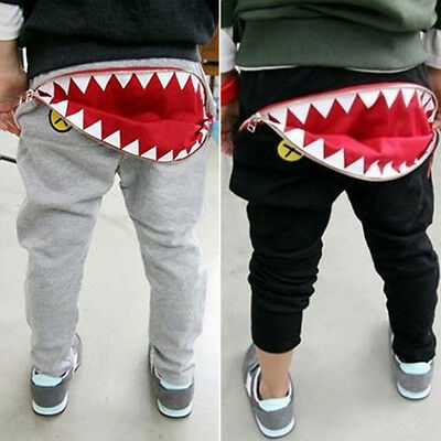 Kids Toddler Boys Girls Zipper Harem Pants Shark Teeth Casual Toddler Trousers