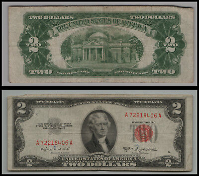 (1)-1953B  $2 Two Dollar Bill  United States Note Red Seal LT V574
