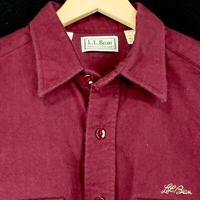 Vintage Ll Bean Chamois Long Sleeve Shirt Maroon Embroidered Logo Mens L Usa