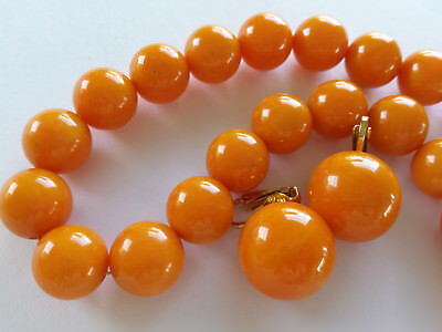 Vintage Genuine Butterscotch Color Bakelite Bead Necklace and Earrings Set