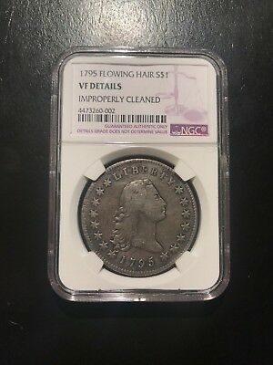 1795 Flowing Hair Silver Dollar NGC VF Cleaned Type Coin Variety One S$1