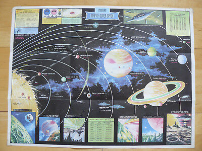 Vintage 1960s Modern Map of Outer Space Rand McNally Poster