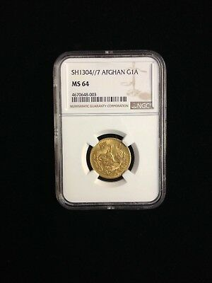 SH1304//7 Afghanistan MS64 NGC Gold 1 Amani coin
