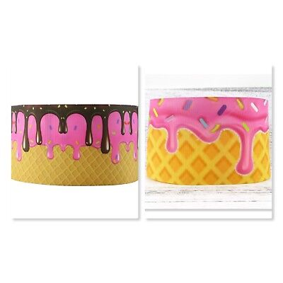 Grosgrain Ribbon - 3 Inch - 75 mm - Print by the Metre - Ice Cream