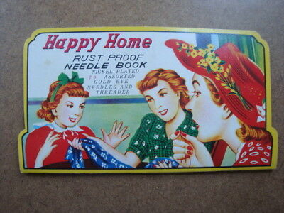 """Vintage - Advertisement card - - Sewing needles """"Happy Home"""" .   Needles inside"""