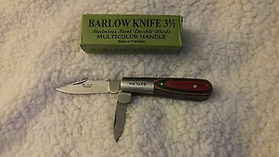 "Barlow Knife 3 1/2"" Closed  Multicolored Wood Handle Double Blade New"