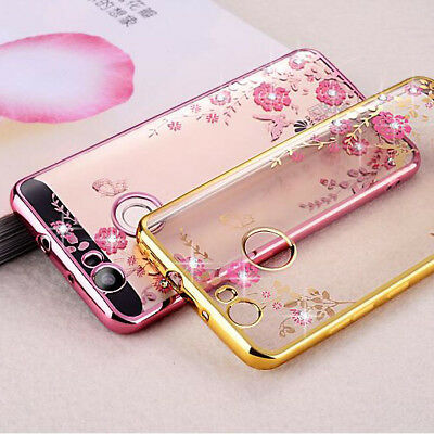 Luxury Flower Butterfly Crystal Diamond Clear Soft Case Cover for Huawei P Smart
