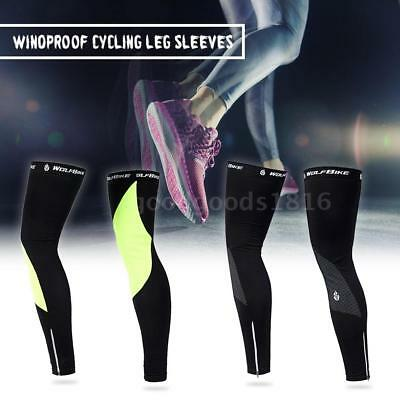 Unisex Windproof Thermal Fleece Cycling Leg Warmers Compression Sleeves C7V1