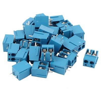 30Pcs 2 Way 2P PCB Mount Screw Terminal Block Connector 5.08mm Pitch Blue B3A6
