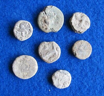 RARE/SCARCE Lot of 7 Roman Lead Tessera tokens 2nd - 3rd Century AD