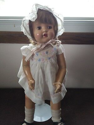 Vintage Composition Doll, Unmarked, 22 Inches Sleep Eyes, Open Mouth
