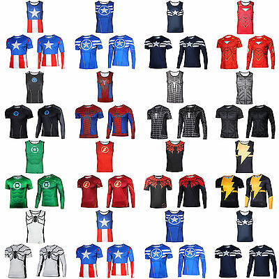 Superhero Marvel Avengers Compression T-shirt Fitness Sports Cycling Shirts Tops