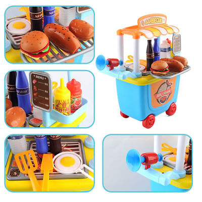 33 pcs Barbecue house For Kids Pretend Role Play Cooking  kit Food Cart Toys Set