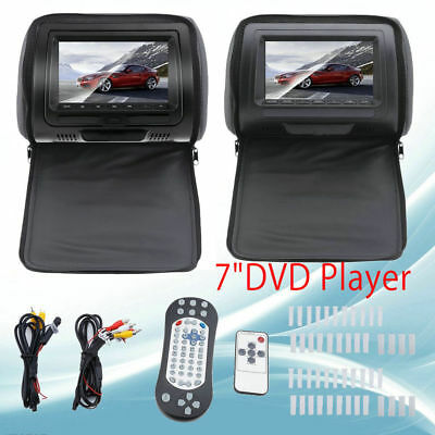 "Black Touchscreen 7"" Car Headrest Monitors w/DVD Player/USB/HDMI+Games OY"