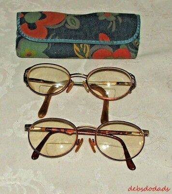 Two Pair Collectible Vintage Bifocal Eye Glasses Cloth Case Estate Find