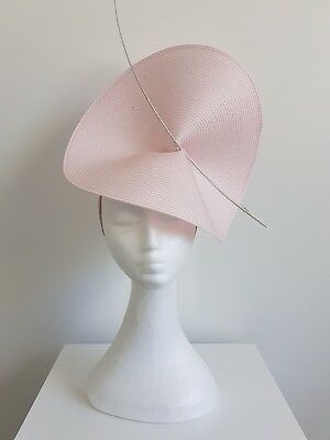 Miss Moneypenny  womens large disk headband fascinator in Pastel Pink